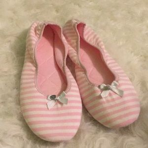 Pink and white striped Victoria's Secret slippers